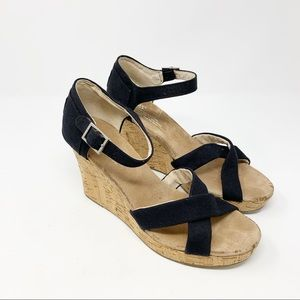 TOMS SIENNA Black Canvas Cork Wedge Sandal